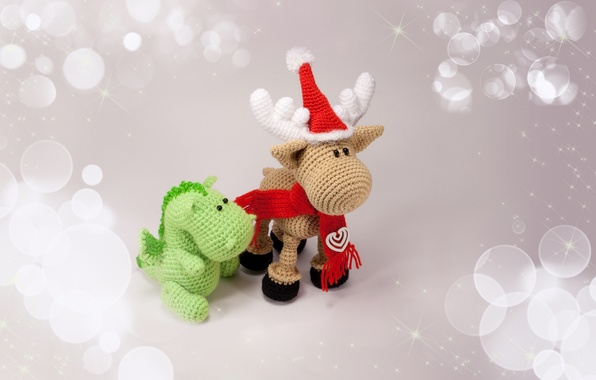 Picture holiday, hat, toys, deer, scarf, dragon, Souvenirs