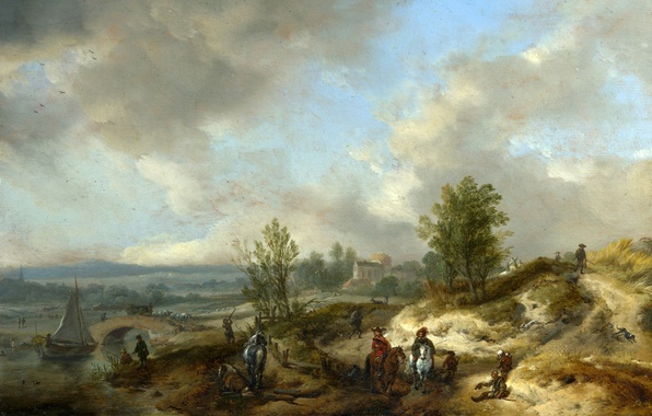 Picture landscape, bridge, river, people, hills, boat, horse, picture, rider