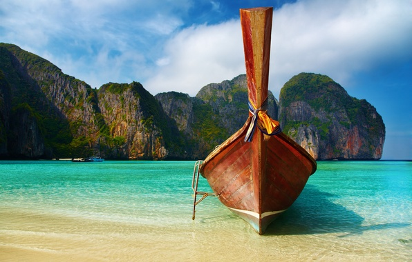 Picture sea, beach, the sky, water, Islands, photo, the ocean, rocks, shore, boat