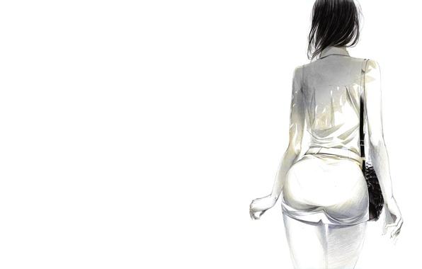 Picture girl, minimalism, art, painting, Sawasawa