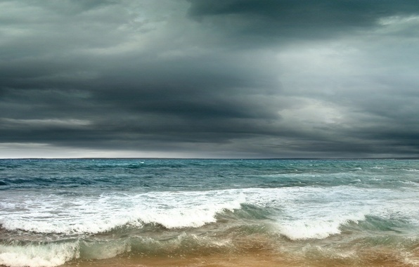 Picture sand, sea, the storm, wave