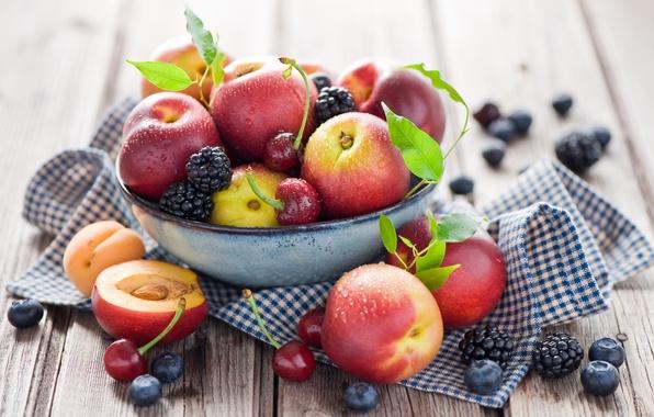 Picture summer, drops, cherry, berries, blueberries, plate, fruit, still life, peaches, cherry, BlackBerry, nectarine, Anna Verdina