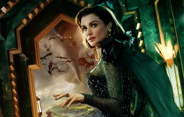 Picture balloon, feathers, brunette, window, fantasy, monsters, tornado, outfit, Rachel Weisz, poster, flying, Oz the Great …
