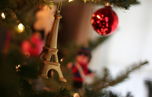 Picture macro, decoration, needles, photo, mood, Wallpaper, toys, new year, lights, tree, Holiday, Christmas