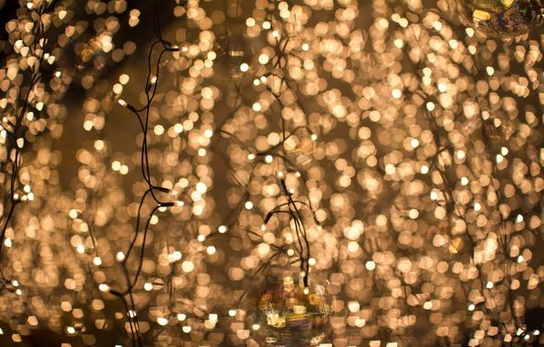 Picture lights, balls, yellow, blur, garland, bokeh
