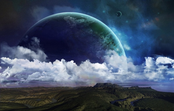 Picture stars, clouds, surface, hills, planet, satellites, river, relief