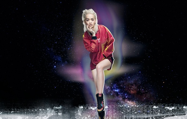 Picture pose, background, model, clothing, makeup, jacket, hairstyle, blonde, singer, sneakers, photoshoot, Adidas, brand, Rita Ora, …