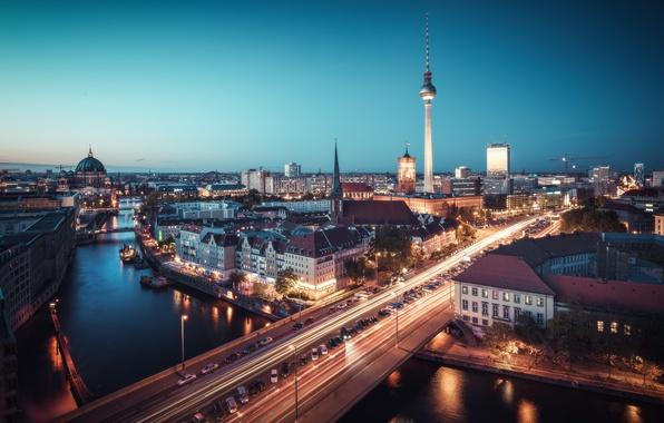 Picture lights, twilight, river, bridge, Germany, night, dusk, traffic, Berlin, blue hour, cityscape, TV tower, urban …