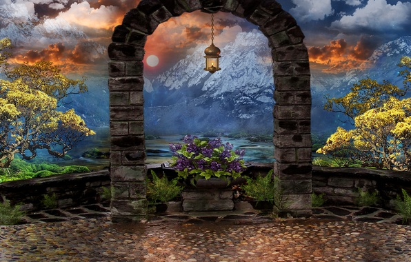 Picture the sky, clouds, trees, flowers, mountains, art, lantern, arch, art