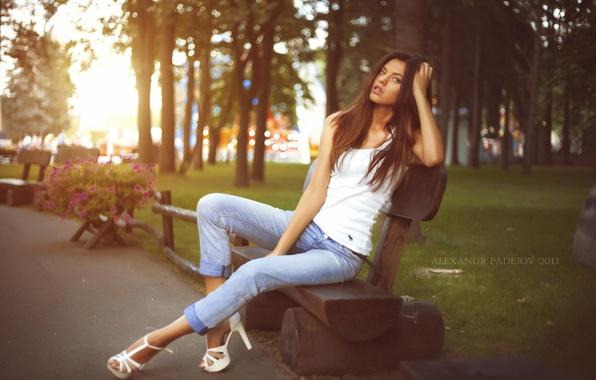 Picture look, girl, flowers, bench, Park, beauty, heels, legs, photographer, Alexander Paderov