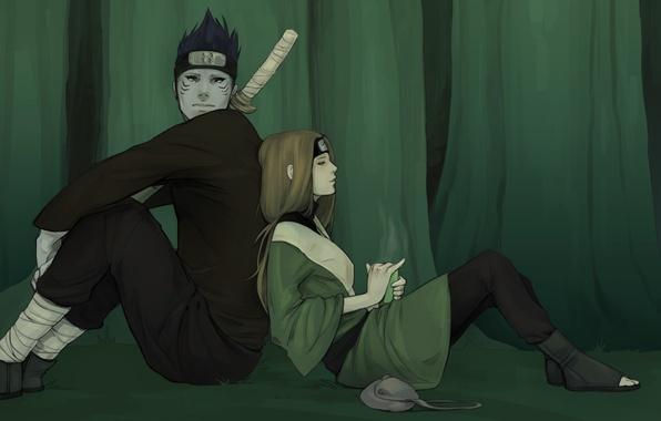 Picture forest, girl, tea, sword, art, guy, bag, bandana, naruto, sitting, hoshigaki kisame, l.pilz