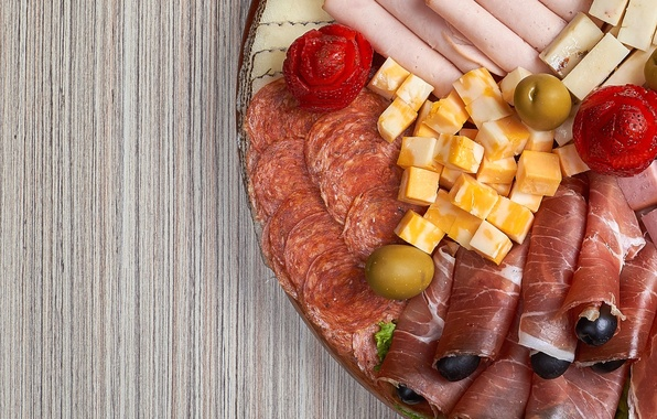 Picture cheese, strawberry, meat, olives, sausage, cutting, cuts, ham, ham
