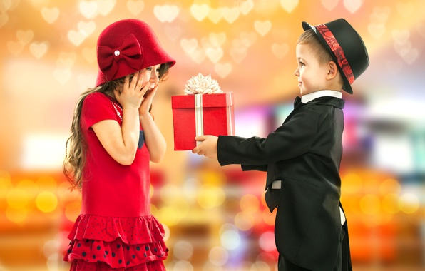 Picture photo, Boy, Children, Costume, Dress, Girl, Hat, Two, Holiday, Gifts, The situation