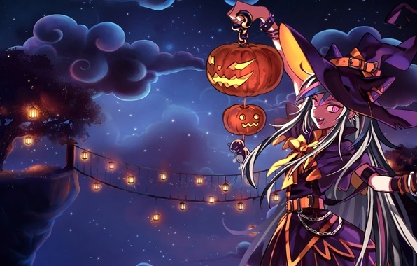 Picture the sky, girl, clouds, night, bridge, tree, holiday, hat, anime, art, lights, pumpkin, witch, halloween, …