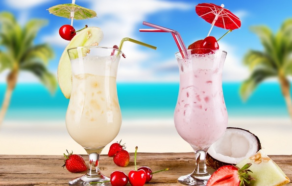 Picture summer, cocktail, summer, food, melon, cocktail, fruits, glasses, coconut, strawberries, cherries, cocktails