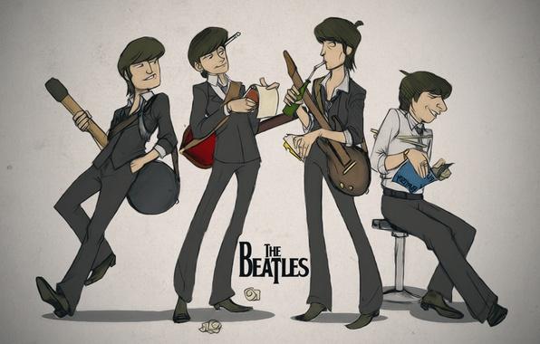 Picture guitar, art, Notepad, book, The Beatles, the Beatles, George Harrison, John Lennon, Paul McCartney, Ringo …