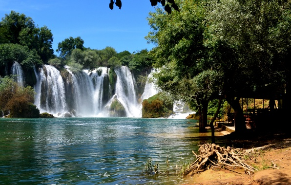 Picture trees, river, waterfall, Bosnia and Herzegovina, Kravice