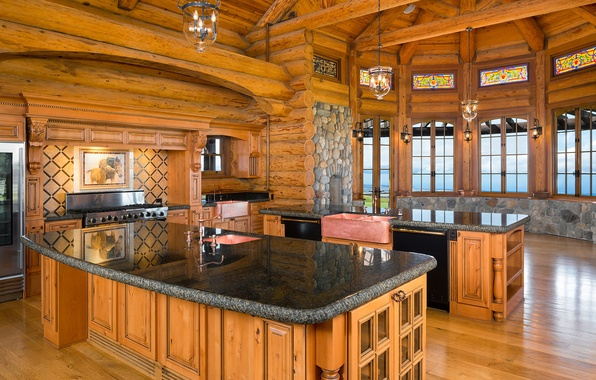 Picture wooden, home, kitchen, log