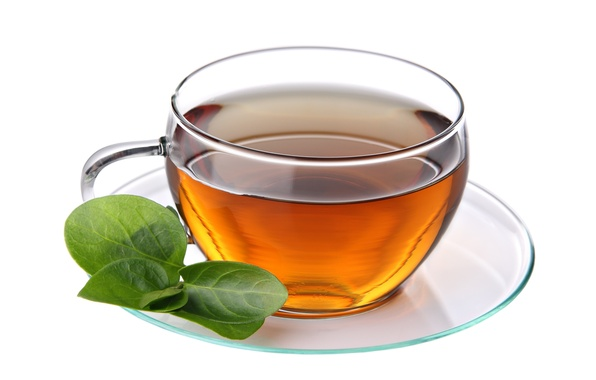 Picture tea, Cup, white background, saucer, leaves, tea