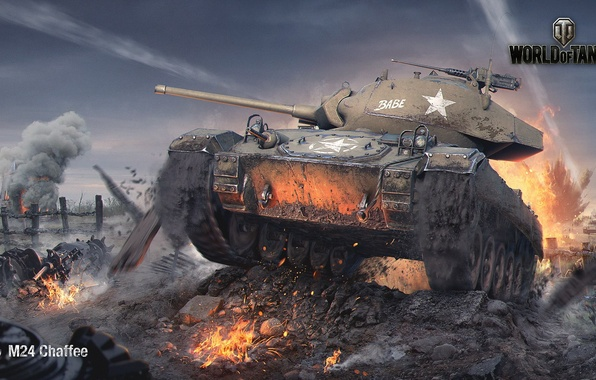 Picture field, fire, smoke, explosions, art, tank, American, World of Tanks, easy, M24 Chaffee