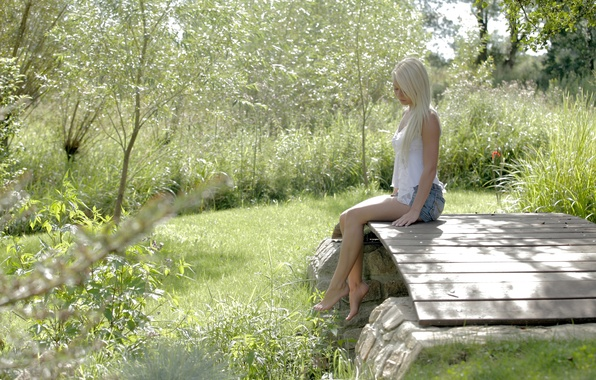 Picture greens, summer, grass, girl, nature, skirt, Mike, blonde, the bridge, charm, anneli
