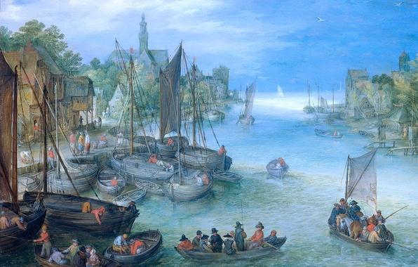 Picture picture, boats, River Landscape, Jan Brueghel the elder