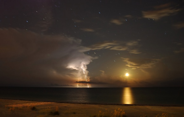 Picture stars, clouds, lightning, The moon, Florida, Antares, Anna Maria Island, Gulf of Mexico