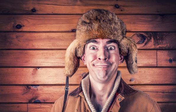 Photo wallpaper hat, happy, man, jacket, hat, portrait