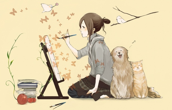 Picture cat, butterfly, birds, books, dog, girl, brush, draws, easel