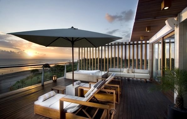 Picture sunset, style, shore, view, relax, architecture, beach, luxury, porch, sunset, beautiful, beautiful, luxury, wiev