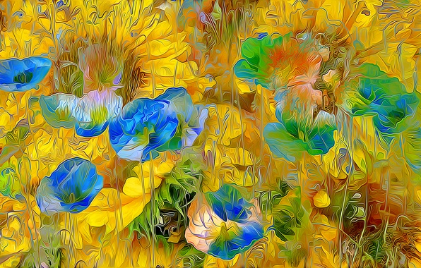 Picture field, flowers, nature, rendering, petals, meadow