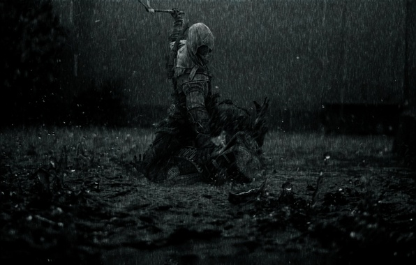 Picture rain, dark, killer, rain, creed, assassins, assassin, the creed of the assassins, Assassin's Creed 3, …