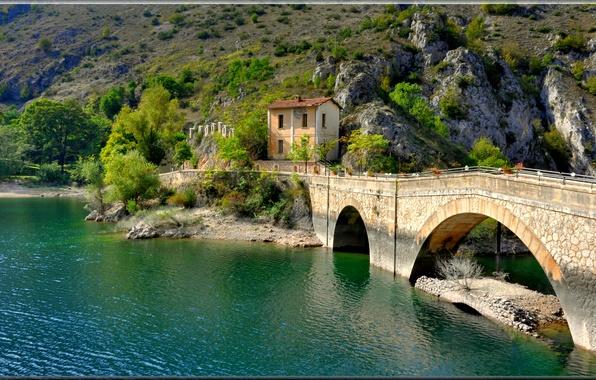 Picture mountains, bridge, lake, house, Italy, Villalago