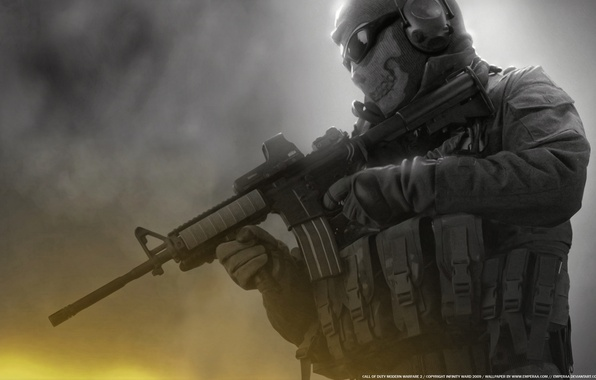 Picture skull, glasses, soldiers, machine, Ghost, Modern Warfare 2, call of duty, unloading, Ghost, M16, Balaclava