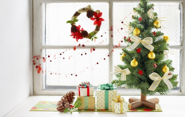 Picture holiday, tree, new year, gifts, decoration, bow
