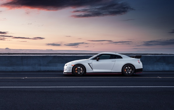 Picture Nissan, GT-R, Car, White, Side, R35, Sport, Road, Nismo, Wheels