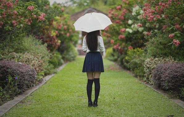 Picture girl, Park, umbrella, hair, skirt, legs