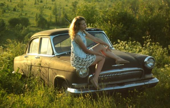 Picture girl, nature, retro, background, mood, Wallpaper, USSR, car, Volga, Volga, GAZ 21, Dasha