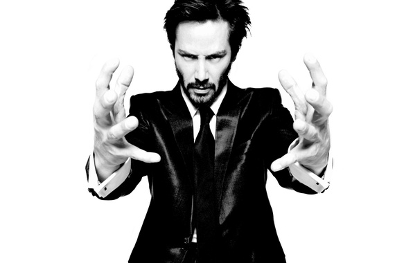 Picture hands, b/W, male, fingers, actor, Keanu Reeves, black and white, Keanu Reeves