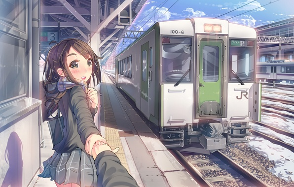 Picture the sky, girl, clouds, smile, train, hand, anime, scarf, art, the car, form, schoolgirl, daito