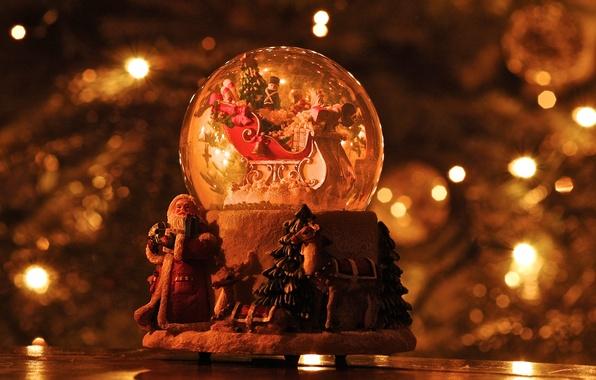 Picture christmas, reindeer, santa claus, snow globe, sleigh
