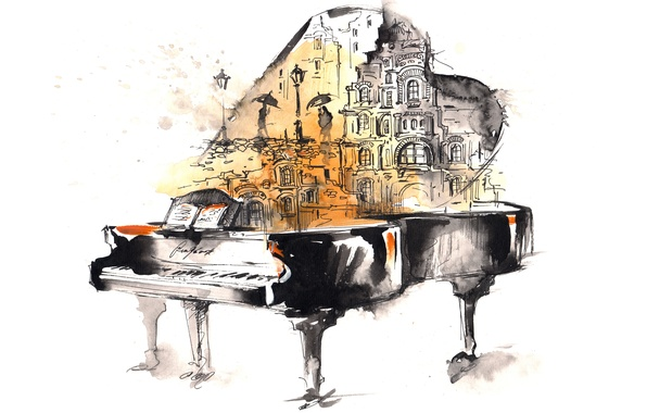 Picture the city, notes, people, rain, figure, piano, art, watercolor