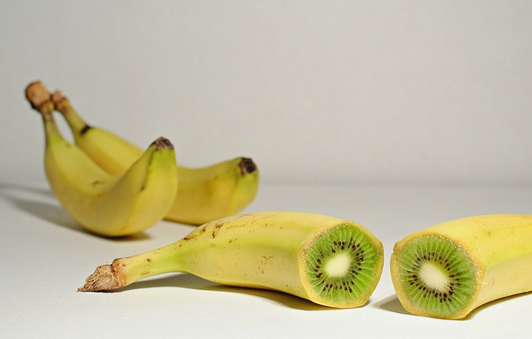 Picture banana, fruits, kiwi, shadows, seeds
