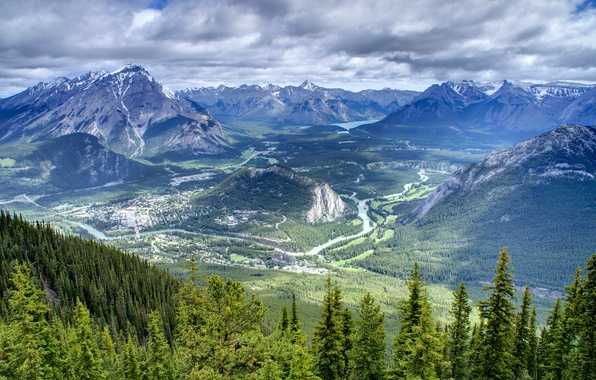 Picture forest, the sky, clouds, trees, mountains, lake, river, home, valley, haze, Banff National Park, Canada