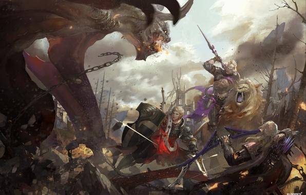 Picture weapons, monster, Leo, war, art, battle