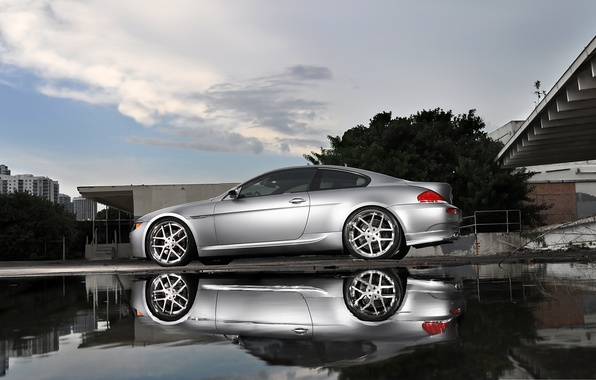 Picture reflection, bmw, BMW, silver, puddle, silver, wheels, e63, Miami, miami