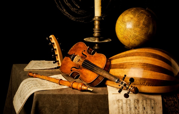 Picture notes, table, violin, candle, flute, globe, Kevin Best
