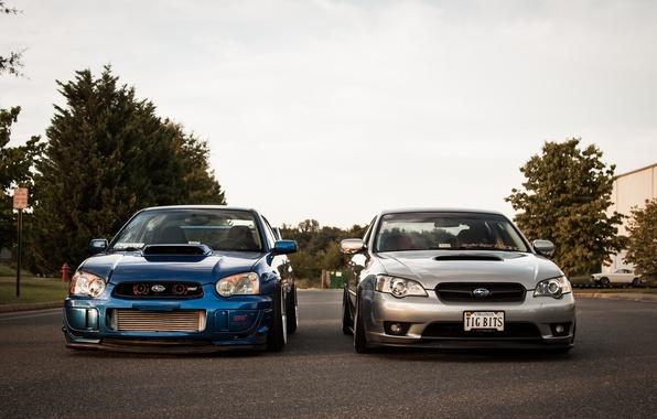 Picture Subaru, silver, blue, blue, wrx, impreza, Subaru, Legacy, sti, Impreza, legacy