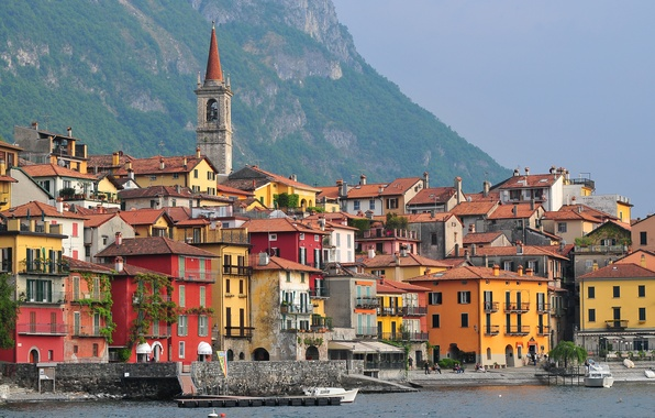 Picture sea, mountains, boat, home, Italy, Lombardy, Varenna