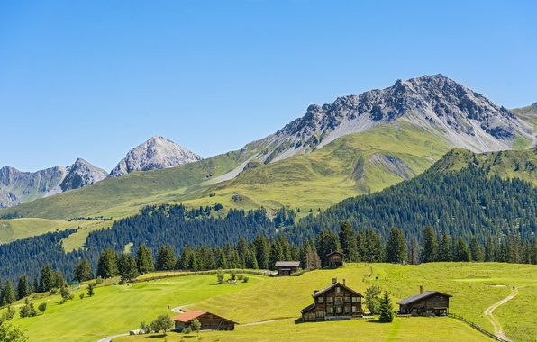 Picture the sky, the sun, mountains, field, Switzerland, houses, forest, meadows, Davos, Jakobshorn